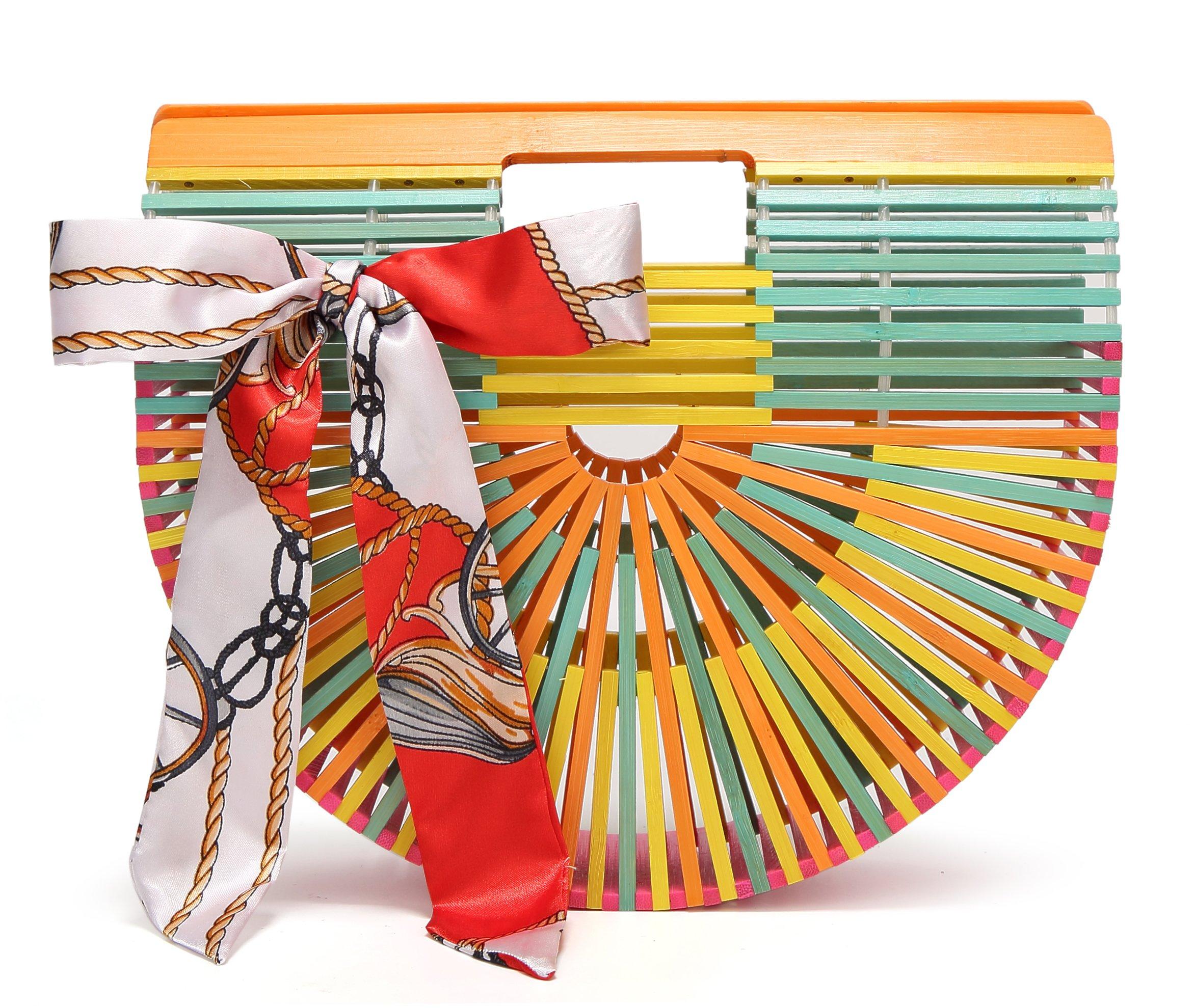 Obosoyo Women's Handmade Bamboo Handbag Summer Beach Sea Tote Bag Multicoloured Small