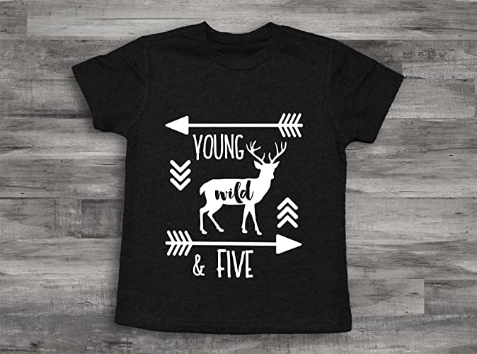 Amazon Deer 5th Birthday Shirt Wild And Five Boy 5 Year Old