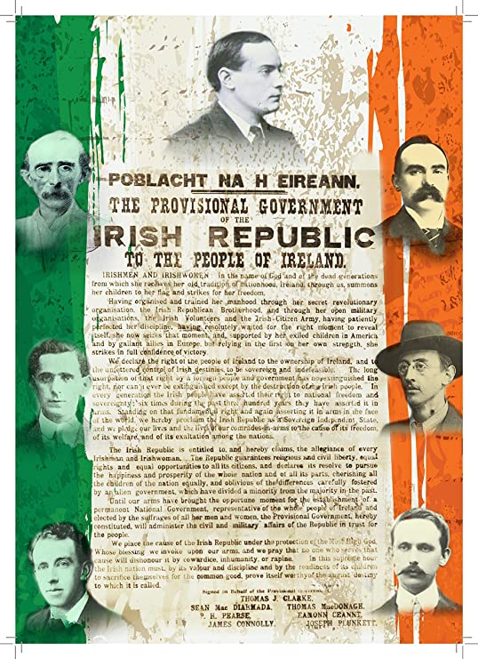 In English /& Irish Poster A4 1916 the Proclamation of the Irish Republic