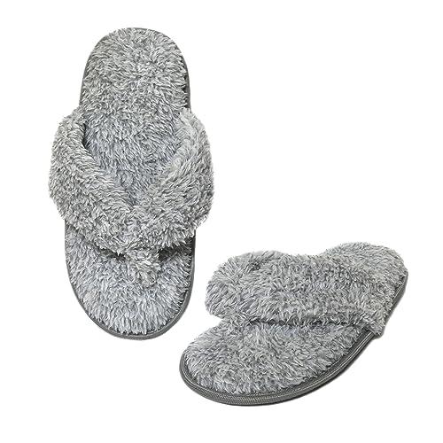 e0fb32969073 Onmygogo Plush Flip-Flops Home Slippers for Women with Non-Slip Rubber  Outsole