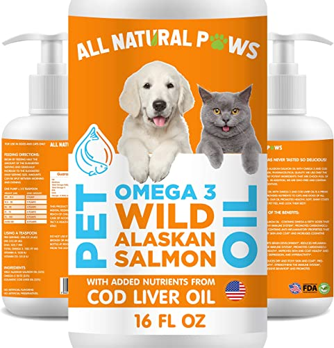 All Natural Paws Wild Alaskan Salmon Oil for Pets, Dogs Cats with Cod Liver Oil Omega-3 Joint Hip Supplement, Arthritis Relief, Anti-Inflammatory, Immune Health, Healthy Skin Coat