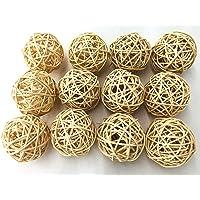 Fascola 5pcs Multi Colors Wicker Rattan Balls, Garden, Wedding, Party Decorative Crafts, Vase Fillers, Rabbits, Parrot…