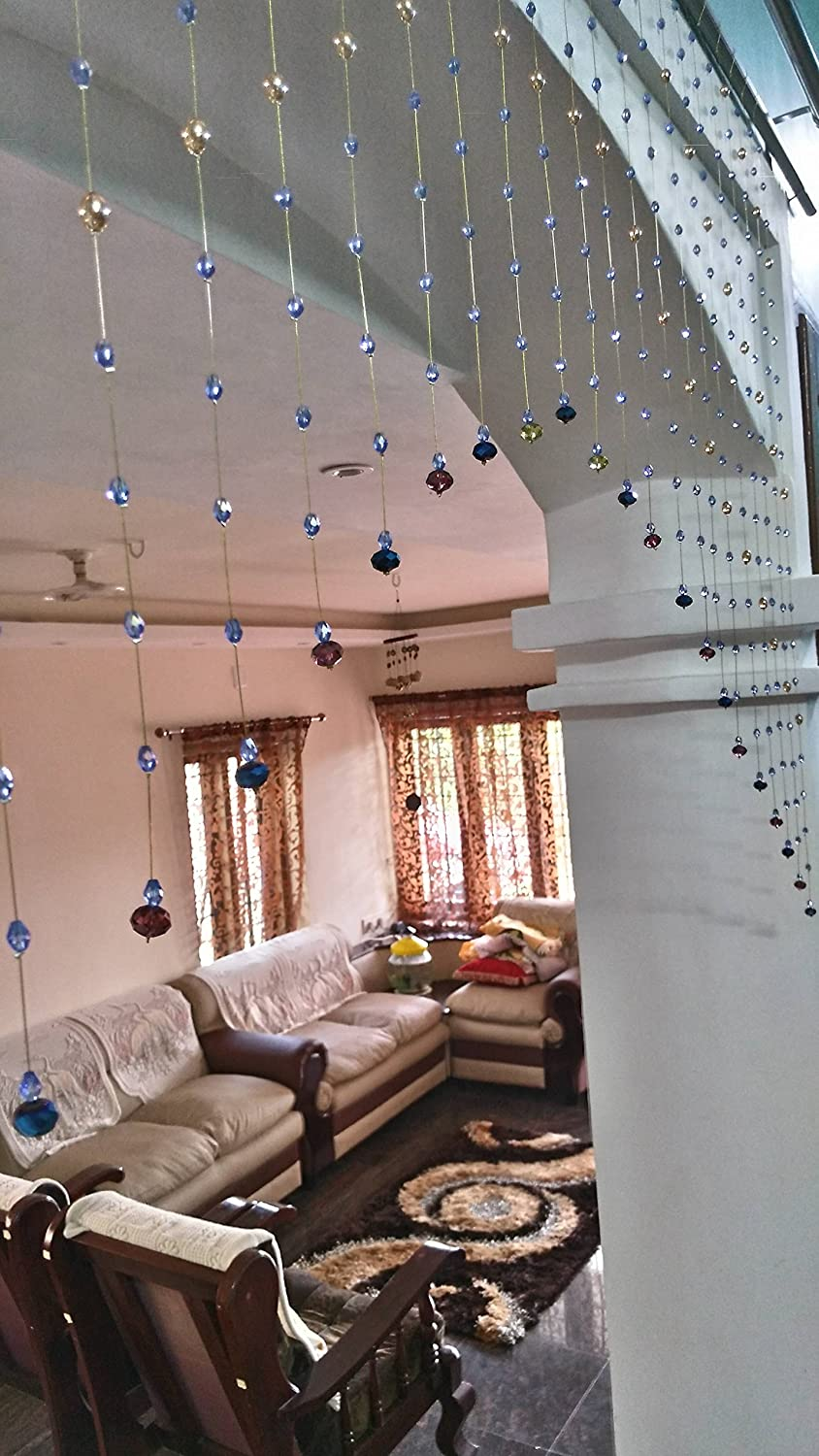 Buy Crystal Bead Curtain Blue And Gold Arch Shaped For Room Partition Door Living Room Online At Low Prices In India Amazon In