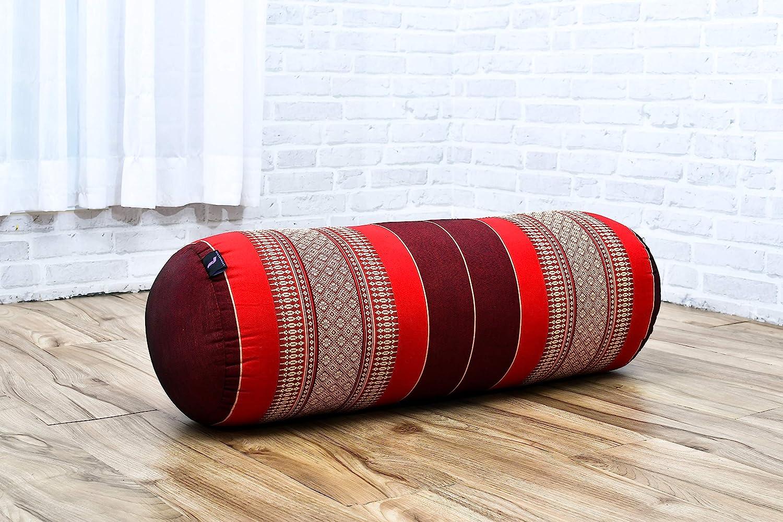 Kapok 65x25x25 cm Leewadee Long Yoga Bolster Supportive Pilates Roll Cushion Neck Pillow Eco-Friendly Organic and Natural