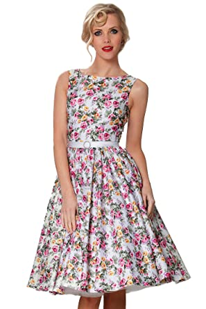Sexyher Vintage Style 1950s Rockabilly Swing Floral Evening Dress - RBJW1405(US6)