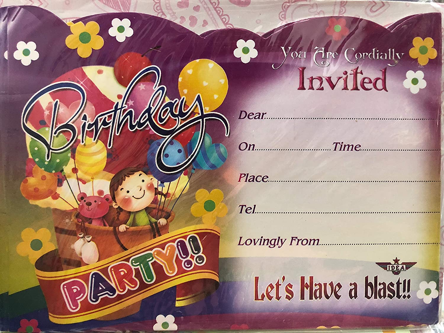 Birthday Party Invitation Cards with Envelope in Assorted Design, Pack of  20 Invitations: Amazon.in: Office Products