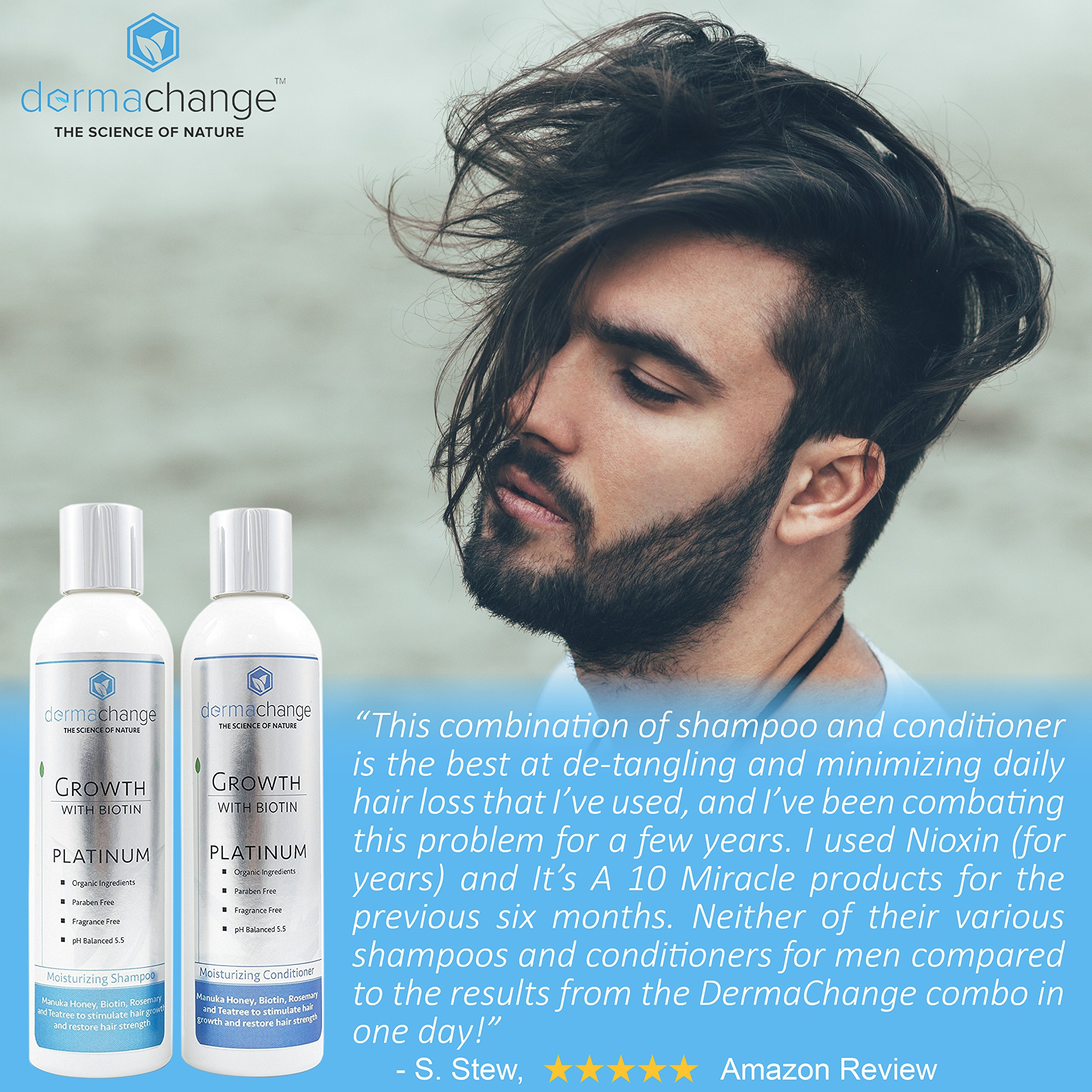 DermaChange Platinum Hair Growth Moisturizing Conditioner - With Argan Oil, Biotin & Tea Tree Extract - Supports Hair Regrowth - Hair Loss Treatments (16 oz) - Made in USA by DermaChange (Image #8)