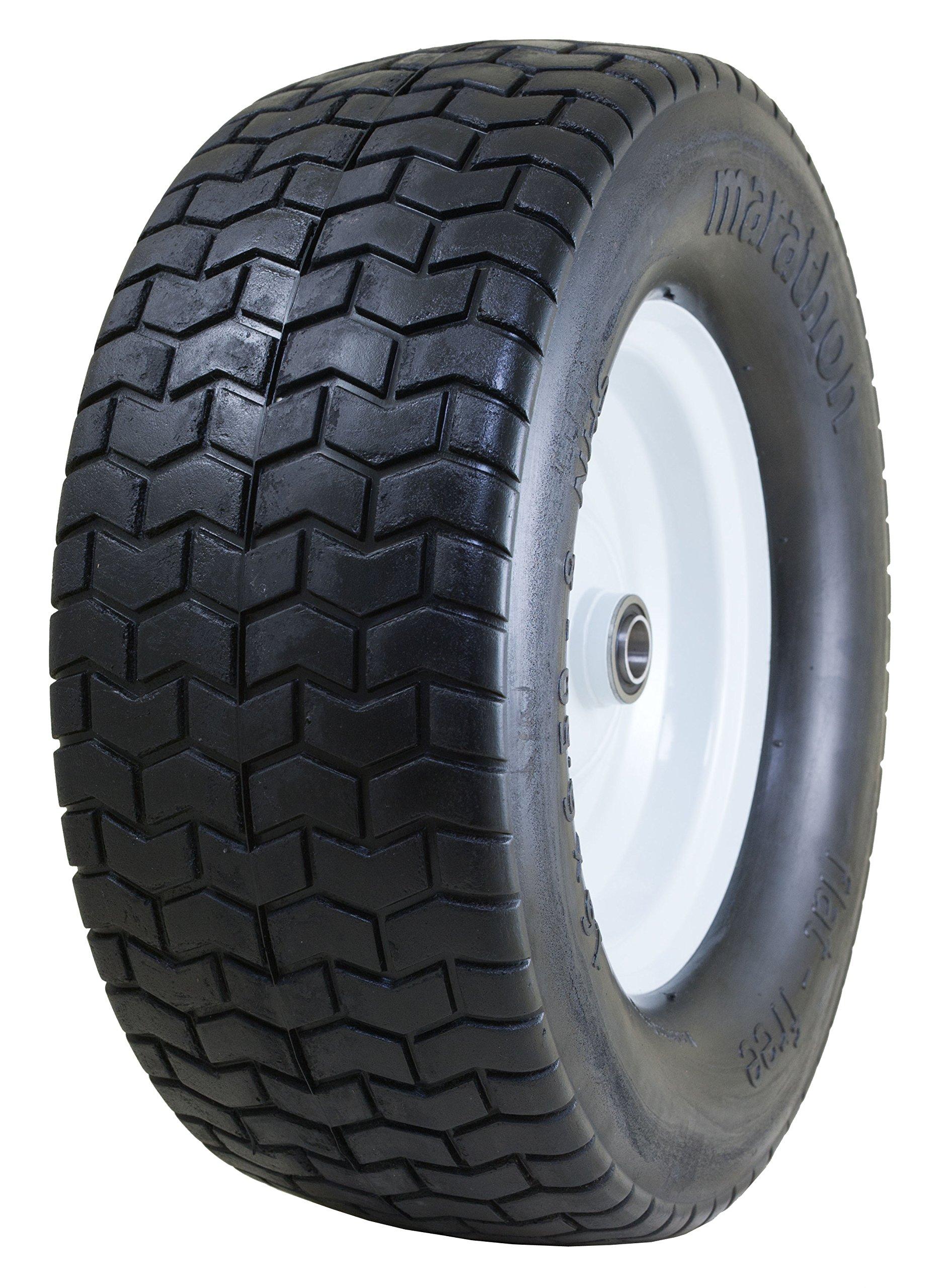 Marathon 16x6.50-8'' Flat Free Tire on Wheel, 3'' Hub, 3/4'' Bushings