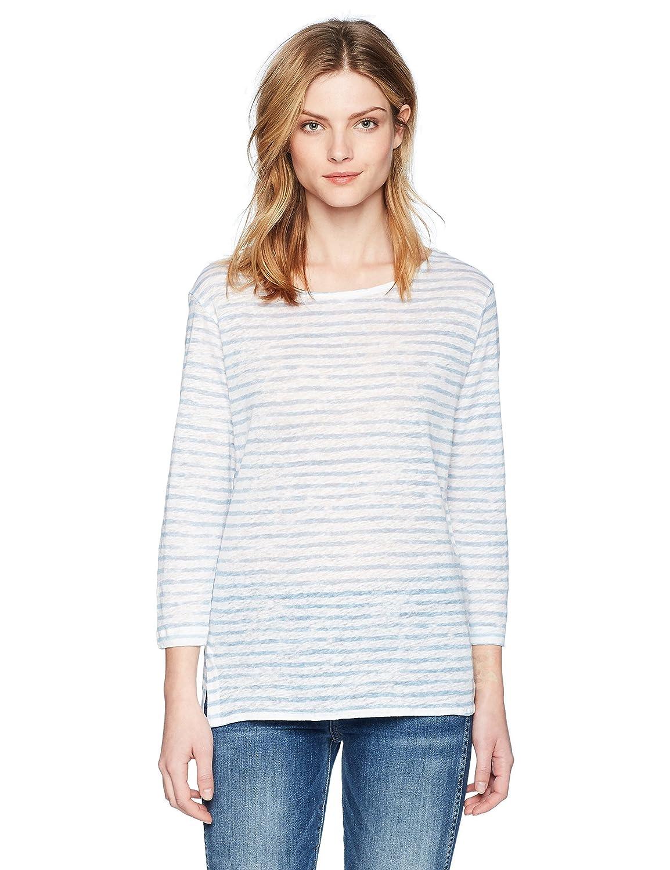 white Ciel Majestic Filatures Womens Linen Stripe 3 4 Sleeve Boat Neck Shirt