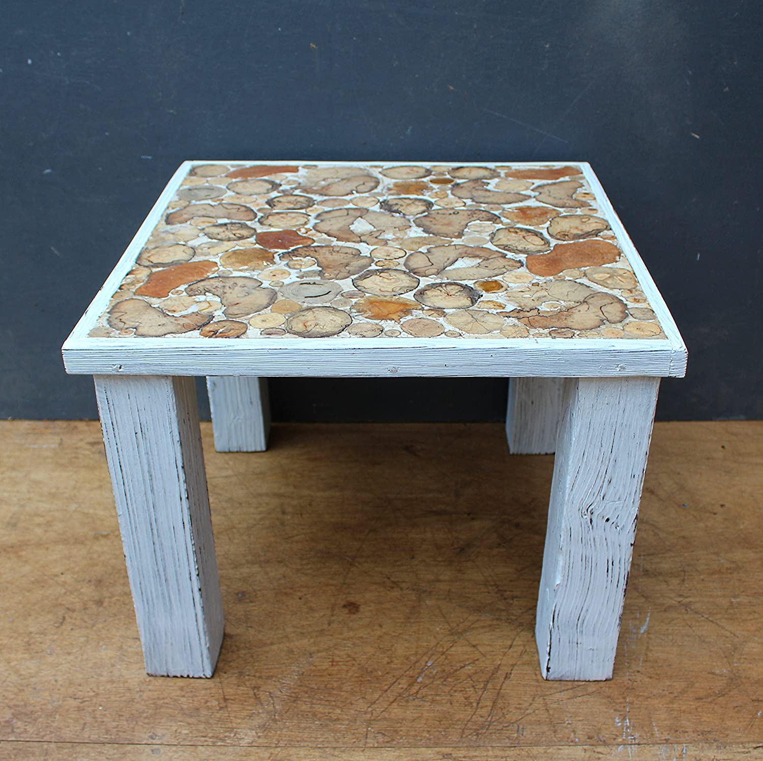 Driftwood Coffee Table White Distressed Paint Amazoncouk