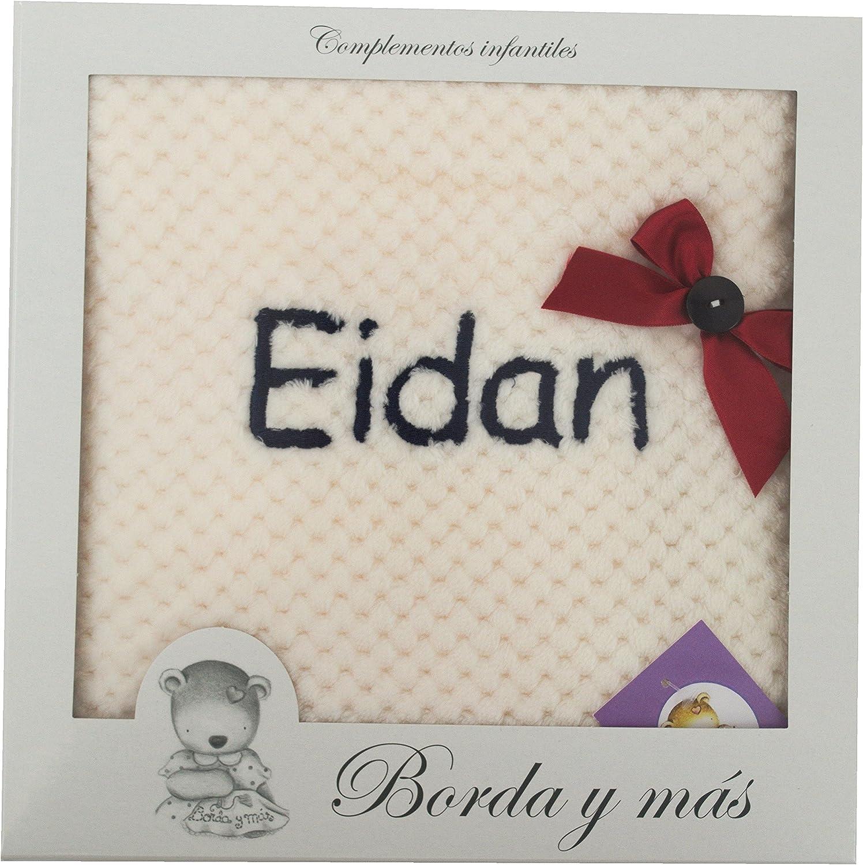 Manta Bebé extra-suave BORDADA CON EL NOMBRE, Modelo dots beige, detalles rojo y marino