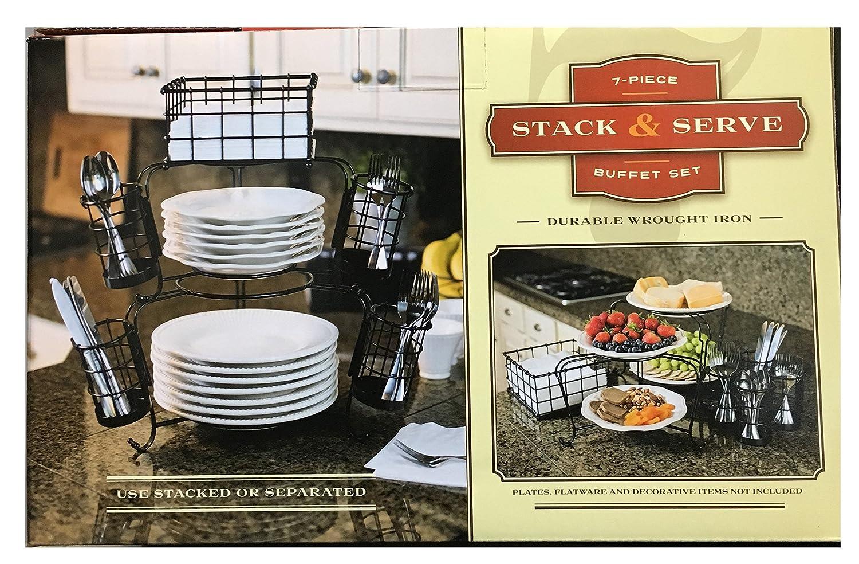 amazon com 7 piece stack u0026 server buffet set or separately used
