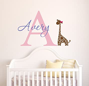 Custom Giraffe Name Wall Decal   Girls Kids Room Decor   Nursery Wall Decals    Giraffe