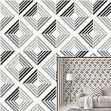 Cwv, Wallcoverings Ltd., Echo, carta da parati con motivo geometrico a quadrati effetto 3D con glitter, quadrati stile retrò, colori intensi e moderni Charcoal/White/Grey/Silver