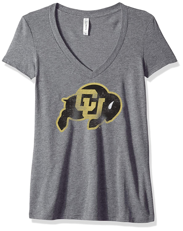 NCAA Colorado Buffaloes Womens Tri Blend Deep V Short Sleeve Tee 2X Premium Heather