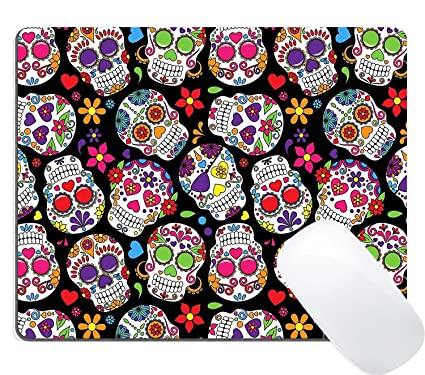 Wknoon Mouse Pad Customized Design Day Of The Dead Colorful Vintage Sugar Skull Abstract Seamless