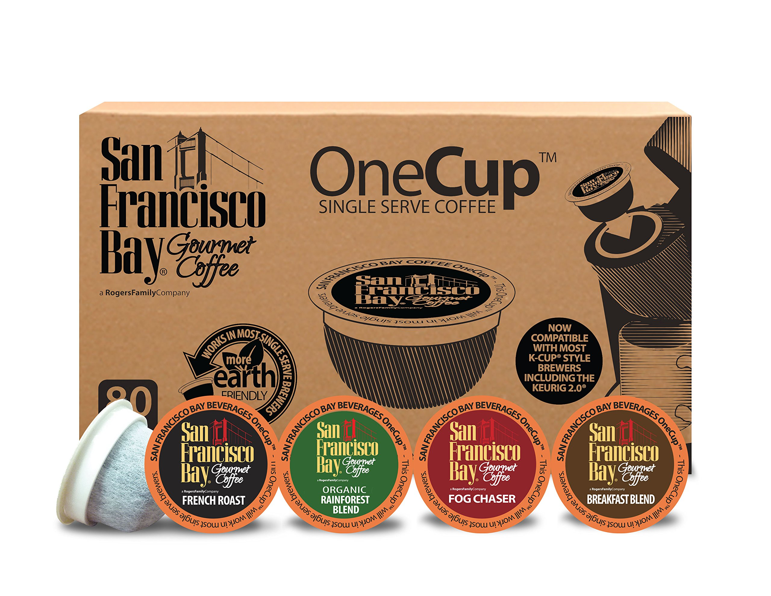 San Francisco Bay OneCup Variety Pack (80 Count) Single Serve Coffee French Roast - Fog Chaser - Rainforest - Breakfast Blend Compatible with Keurig K-cup Brewers Single Serve Coffee Pods