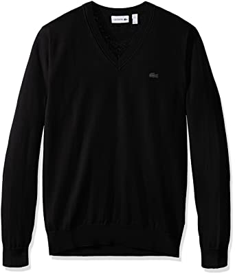 Lacoste Men's Cotton Jersey V Neck Sweater, Ah7894-51 at Amazon ...