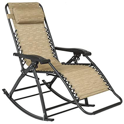 Ordinaire Best Choice Products Zero Gravity Rocking Chair Lounge Porch Seat Deck  Patio Outdoor Yard Backyard Tan