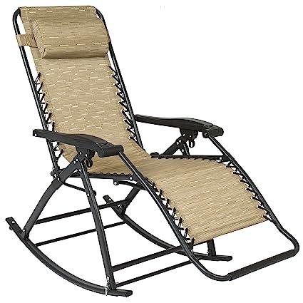 Best Choice Products Zero Gravity Rocking Chair Lounge Porch Seat Deck  Patio Outdoor Yard Backyard Tan