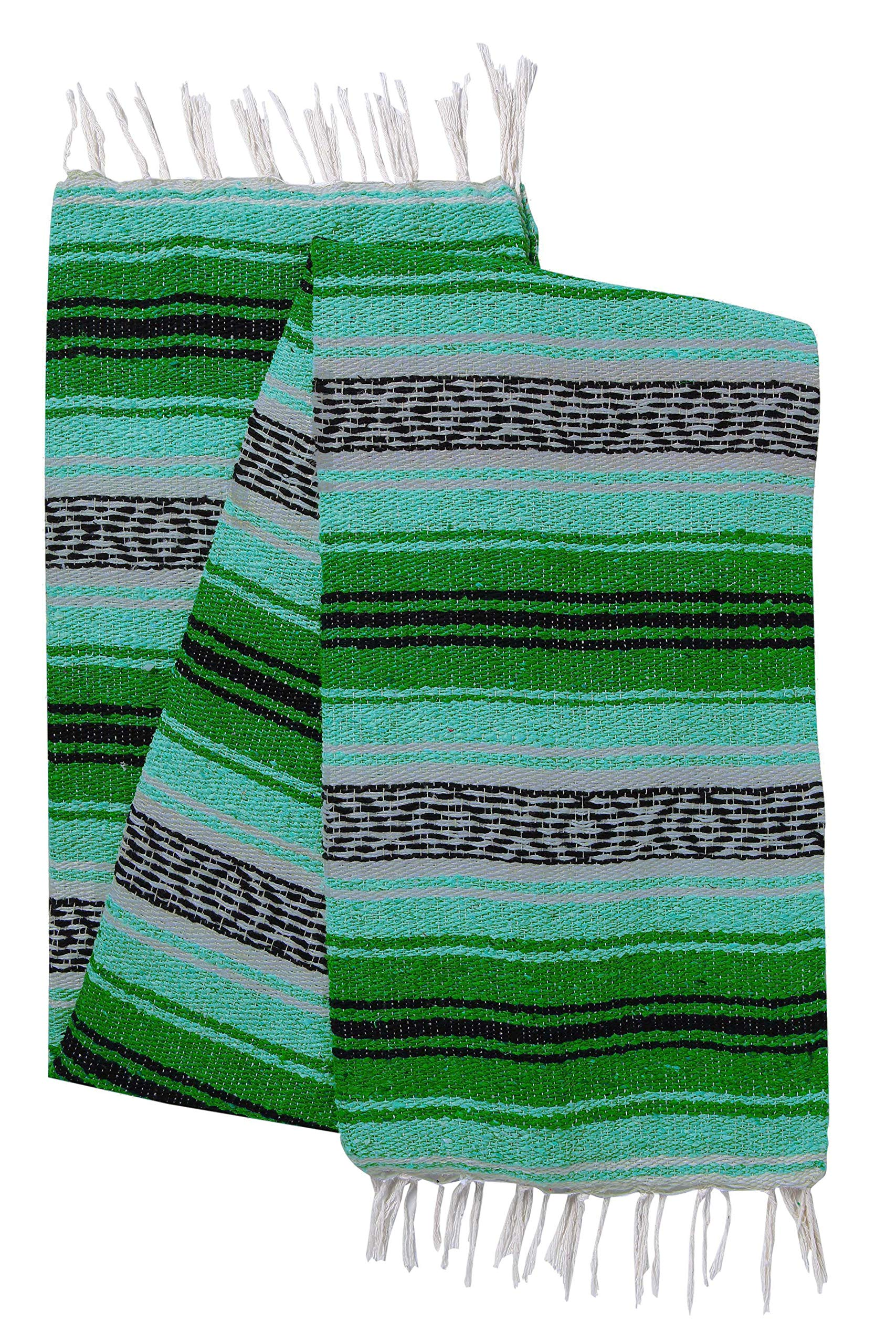 El Paso Designs Genuine Mexican Falsa Blanket - Yoga Studio Blanket, Colorful, Soft Woven Serape Imported from Mexico (Cool Mint and Green)