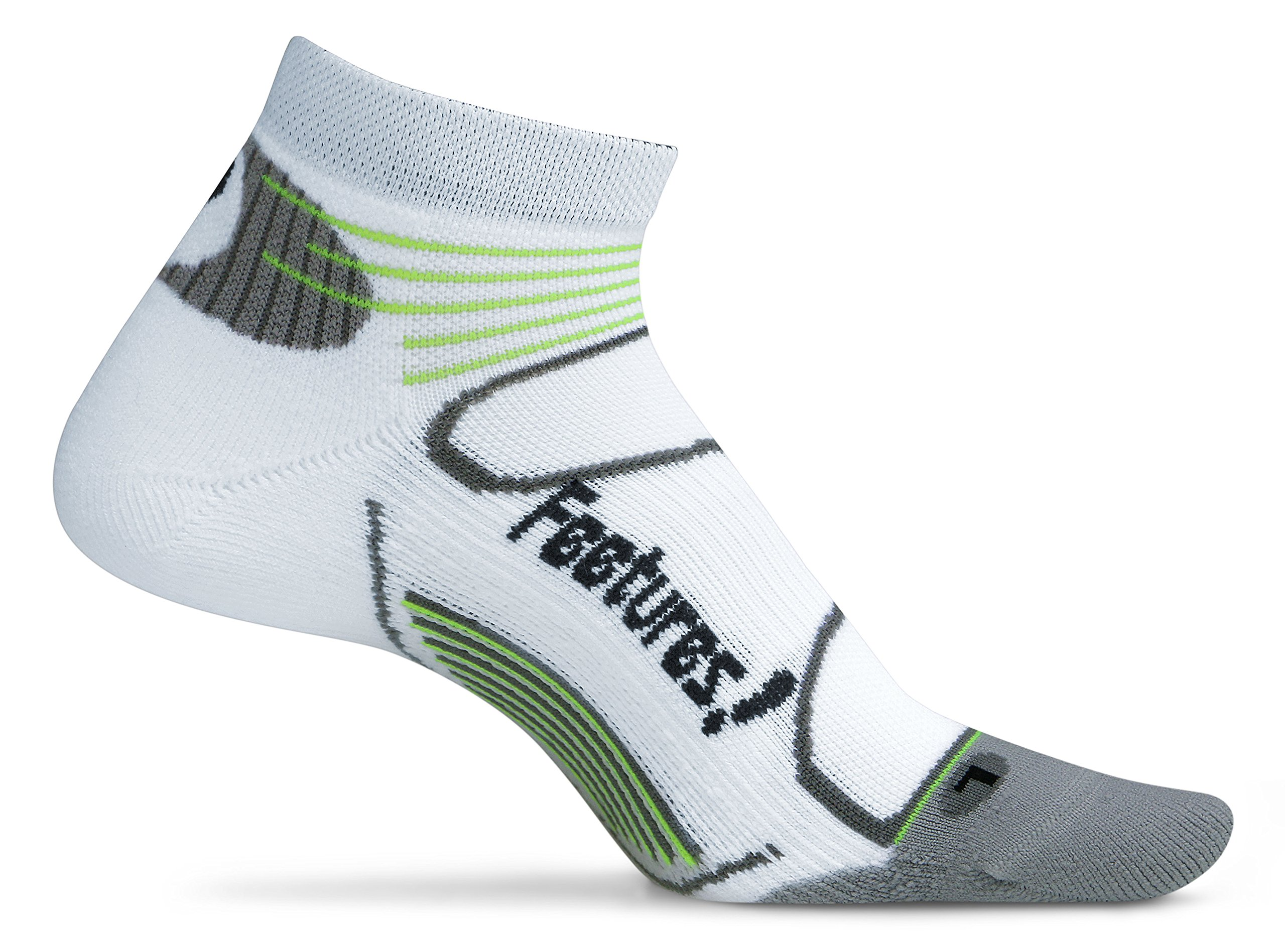 Feetures! Elite Light Cushion Low Cut Cotton/Nylon Socks, Large, White/Black