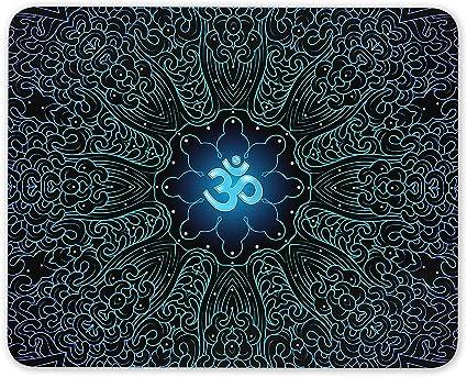 Neon Om Symbol Mouse Mat Pad - Peace Yoga Spiritual Blue ...