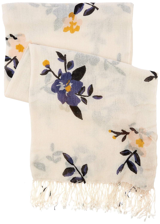 TOM TAILOR Casual Damen Trilby weiches Tuch mit Bl/ümchendruck Elfenbein Whisper White 10315 One Size