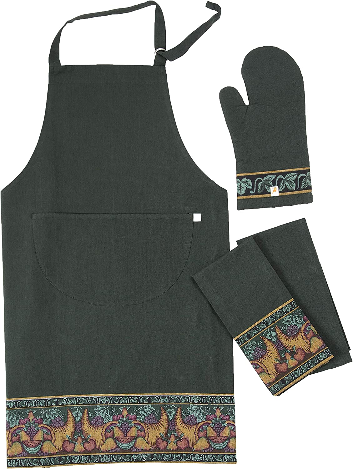 100% Cotton Holiday Kitchen Dish Towels, Oven Mitt and Apron 4 Pack Set, Yarn Dyed Chambray, Nature Green with Harvest Cornucopia Design, For Christmas and Thanks Giving by maspar everyday kitchen
