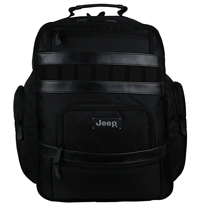 14d5a3405ff Large Mens Black Backpack Rucksack by Jeep School Laptop Bag Travel Yellow:  Amazon.co.uk: Luggage