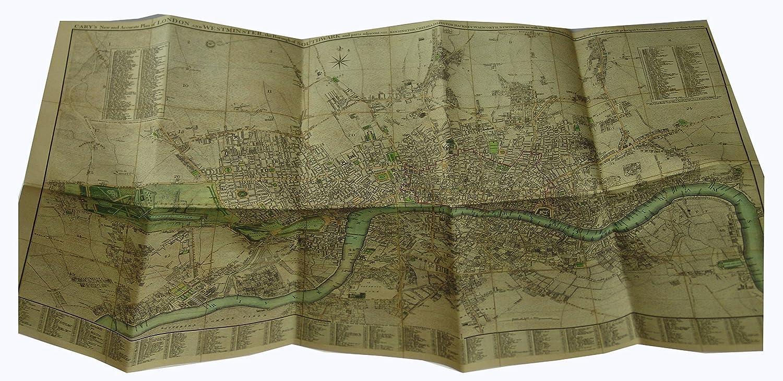 Old Maps Mapa antiguo de Londres, diseño vintage, año 1795 realizado por John Cary, lino, plegable, tela, natural, 85cm x 58cm: Amazon.es: Hogar