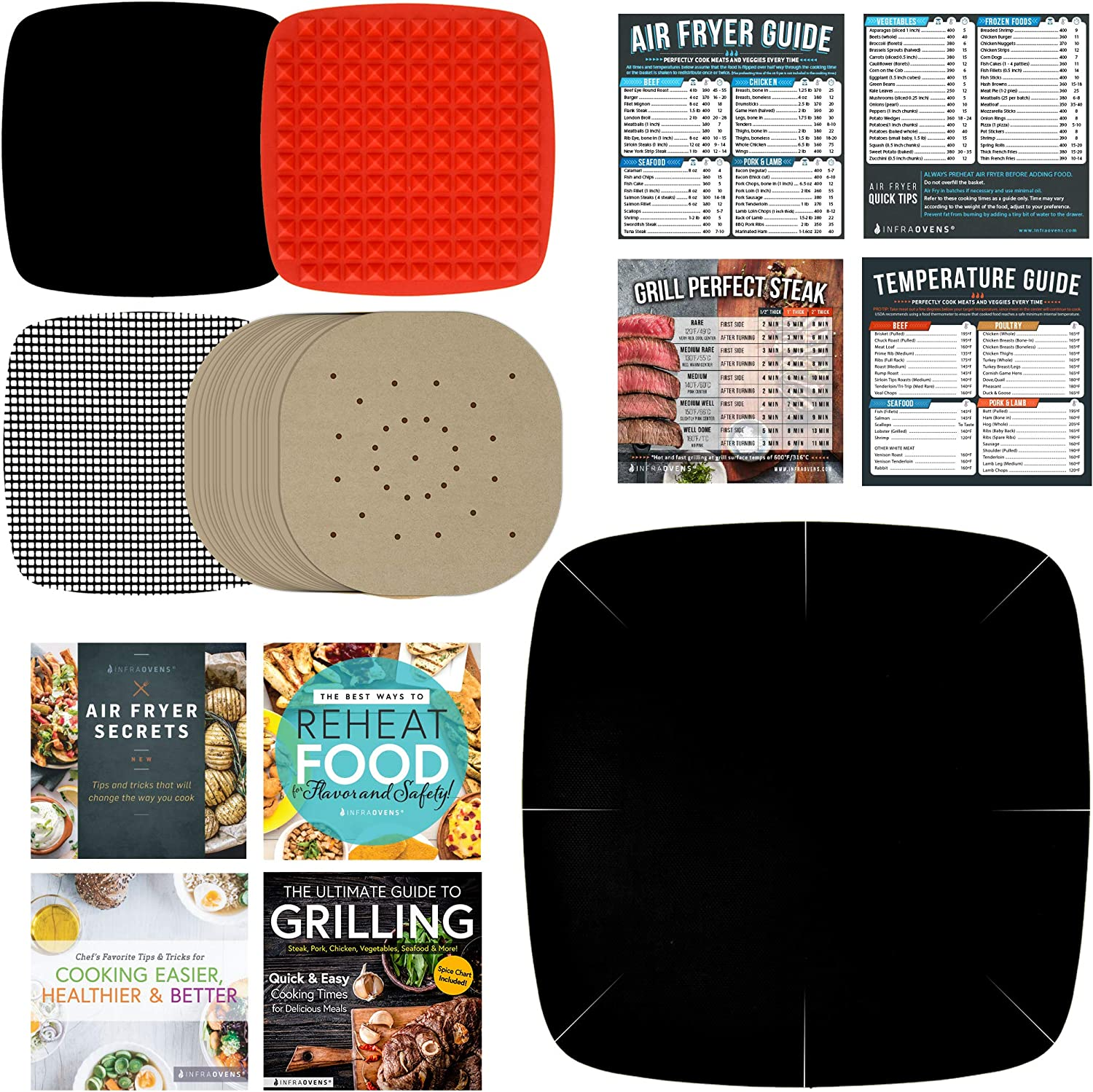 Air Fryer Accessories Set of 13 Compatible with NuWave Brio, Ninja Foodi Grill, GoWise, Gourmia, Cosori, Sarki + More | Parchment Paper, Cooking Conversion Charts, Airfryer Silicone Mat, Cookbooks