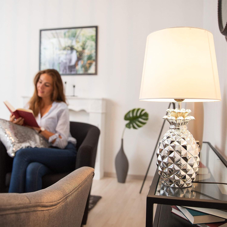 Relaxdays Lámpara de mesa, Forma de piña, Pantalla de tela, Original, Decorativa, PlateadoBlanco, 47 x 25 cm