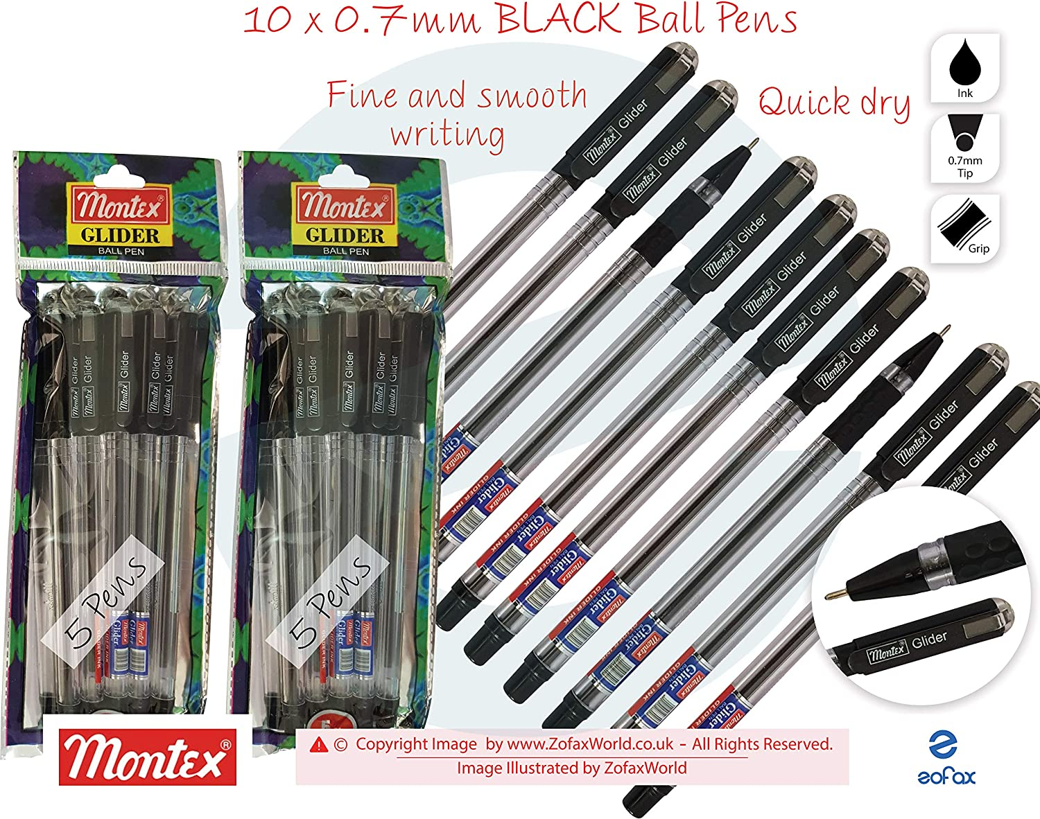 VALUE PACK 5 BLACK Ballpoint Pens Smooth Writing Biro Long Last Ink *UK SELLER*