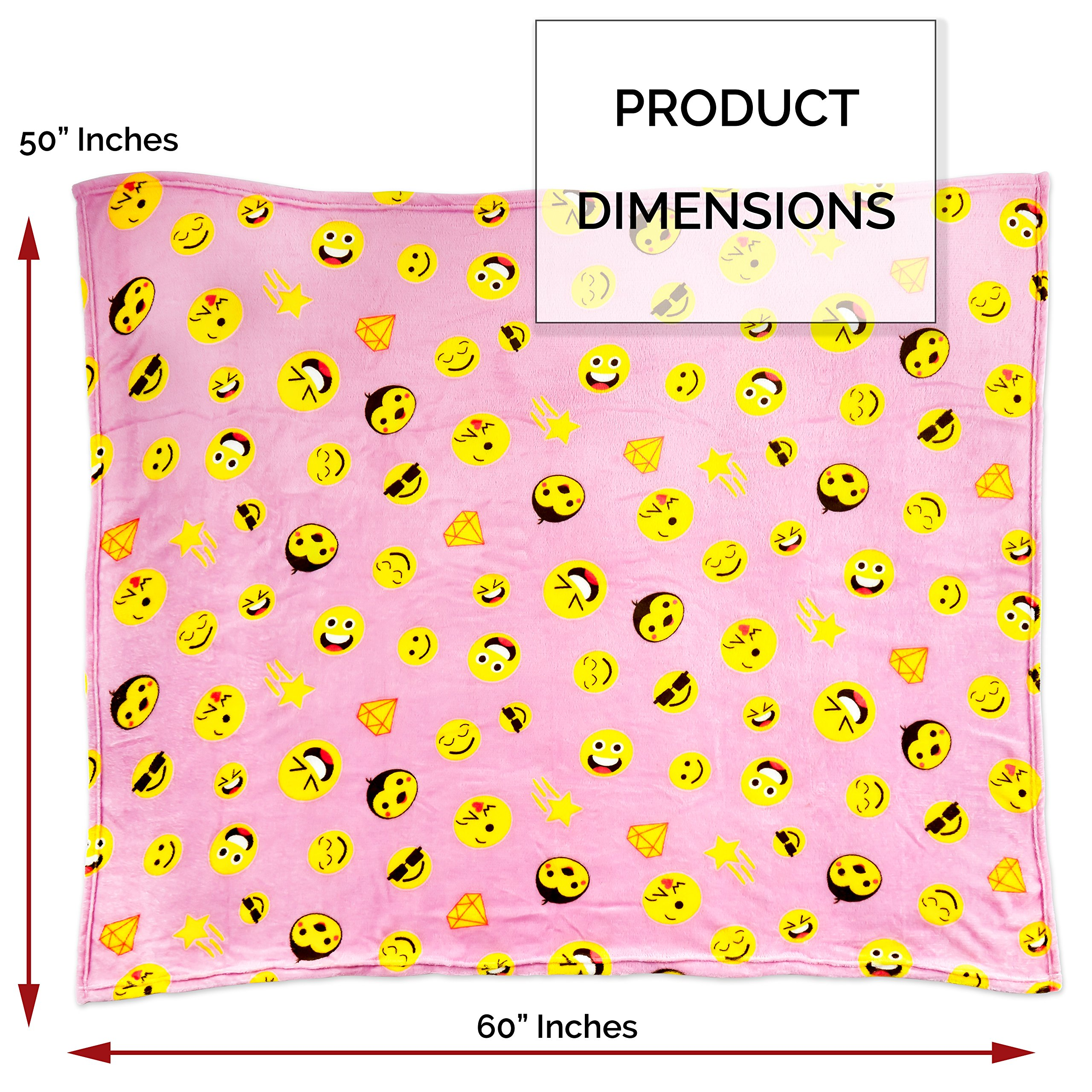Koltose by Mash Pink Emoji Throw Blanket, Adorable Soft Large Fluffy Lightweight Emoticon Blanket for Girls and Boys, Toddlers Kids Teens and Young Adults (50in x 60in) by Koltose by Mash (Image #3)