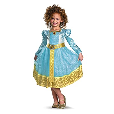 Brave Merida Deluxe Costume, Auqa/Gold, Small: Clothing