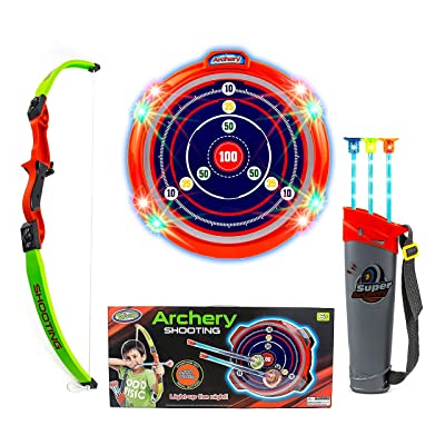 Toysery Kids Archery Bow and Arrow Toy Set - Target Practice with LED Flashing Lights and Sounds - Indoor Outdoor Toys, Garden Fun Game - Best Archery Bow & Arrow Toy Set for Kids Age 6 and Up: Toys & Games