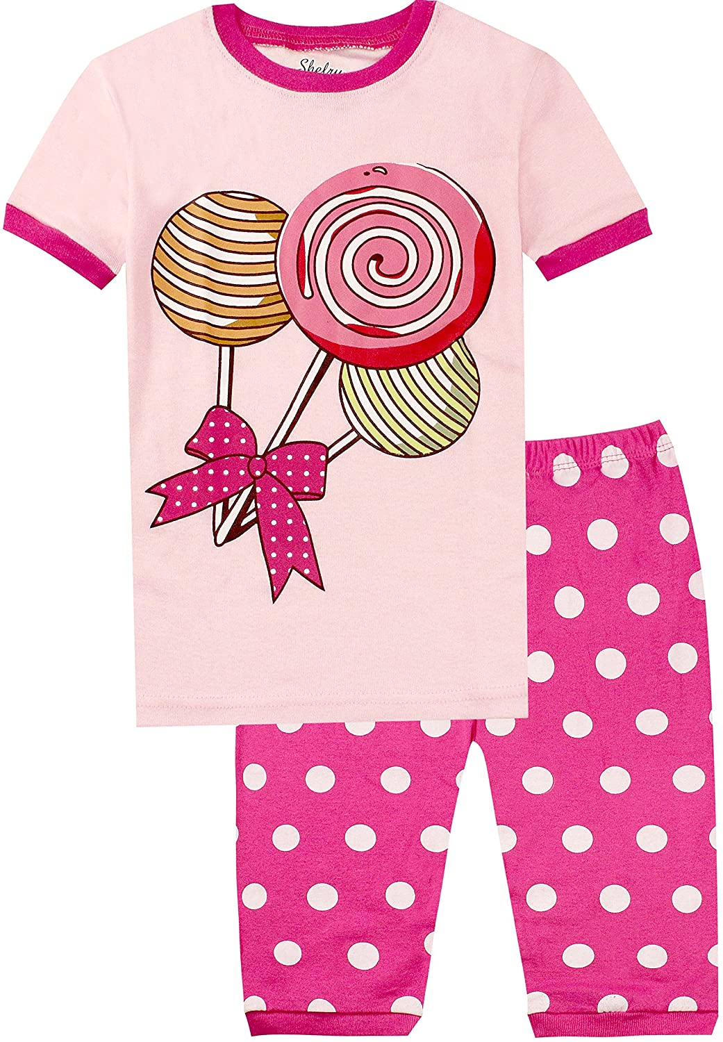Children Dolphin Pajamas Girls Summer Short Sleeve PJs 2 Pieces Cotton Sleepwear Set