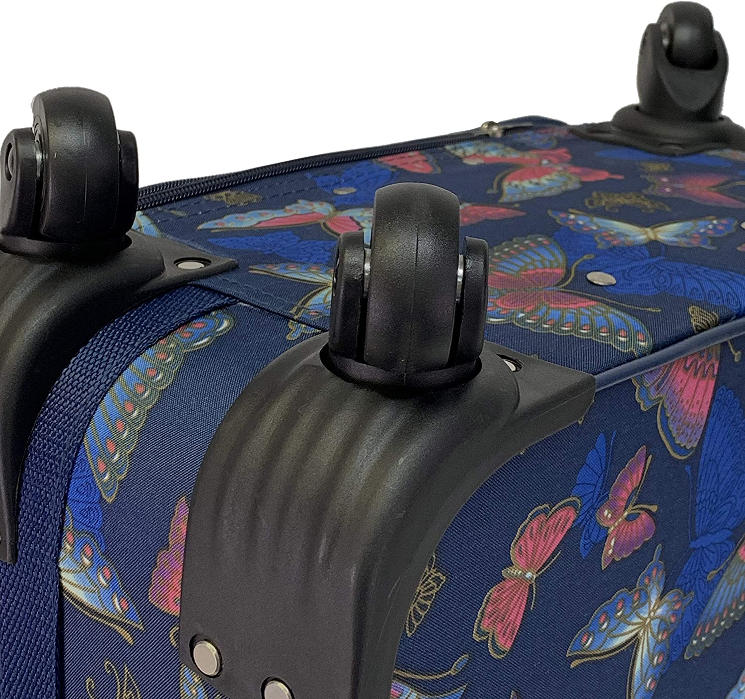 Butterfly Pink Spinner Expandable Luggage Set