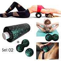 The Trigger Point Foam Body Roller with High Density, 2 in 1 Set with Honeycomb Pattern on Surface, 3 in 1 Set with Different Size for Physical Therapy, Exercise, Deep Tissue Muscle Massage