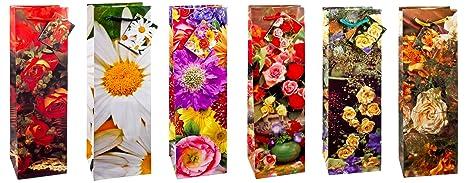 TSI 84295 - Bolsas de regalo para botellas decoradas con rosas y con motivos veraniegos,