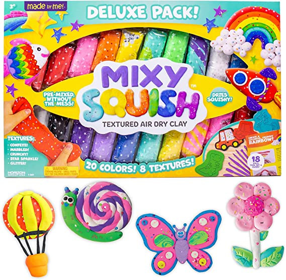 Sculpt It Squish It.Dries Without Cracks.. Includes 6 Colors in 4 Textures Stretch It Mixy Squish Rainbow Textured Air Dry Clay by Horizon Group USA 201077