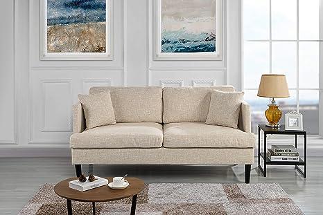 Amazon.com: Sofá/sofá tapizado moderno de tela., Madera ...