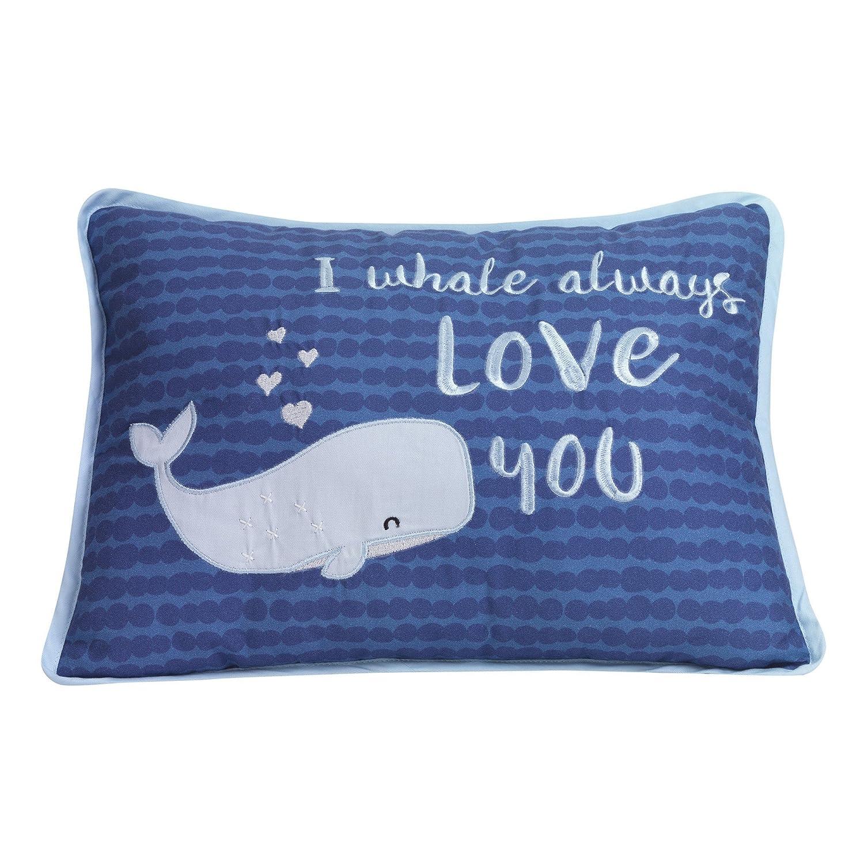 Lambs & Ivy Oceania Decorative Throw Pillow - Blue Ocean Whale