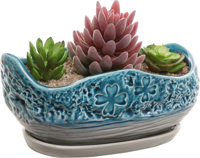 MyGift Turquoise Gray Clover Design Ceramic Flower Plant Pot Decorative Centerpiece Planter with Saucer