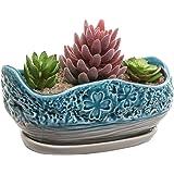 Turquoise & Gray Clover Design Ceramic Flower Plant Pot / Decorative Centerpiece Planter with Saucer