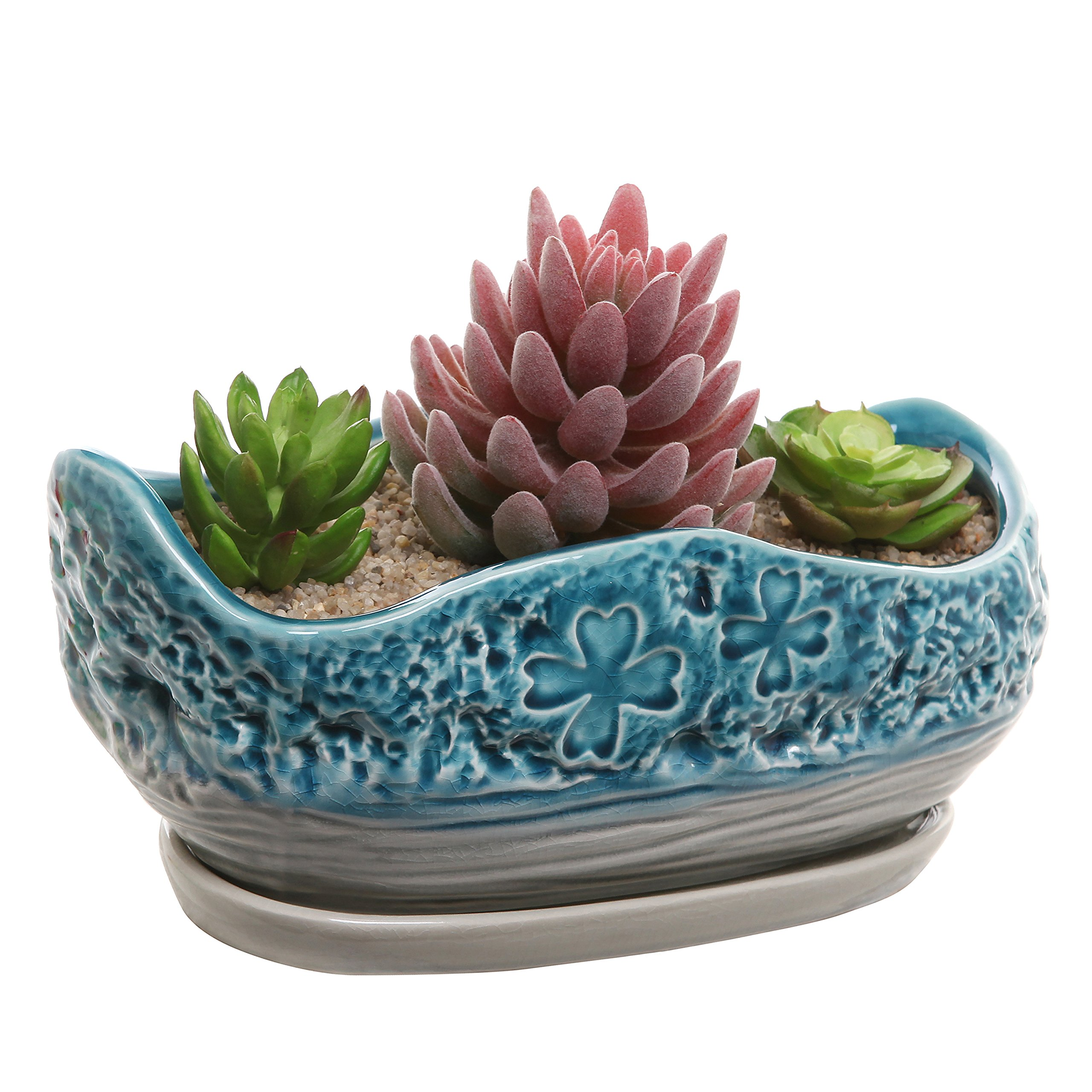 Turquoise & Gray Clover Design Ceramic Flower Plant Pot / Decorative Centerpiece Planter with Saucer by MyGift