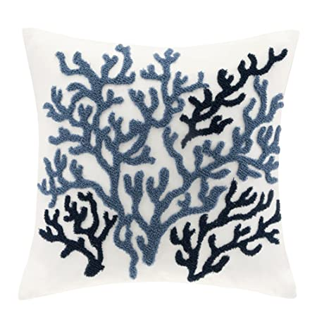 Harbor House Beach House Cotton Throw Pillow,Coastal Pattern Fashion Square Decorative Pillow, 18X18, Blue,