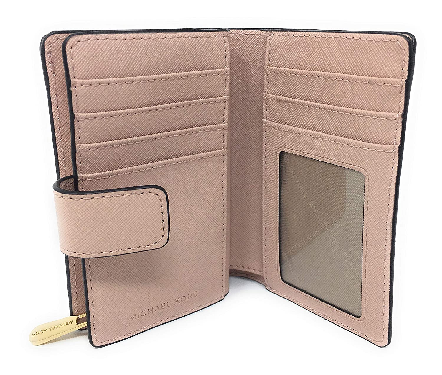 be080de7c151 Michael Kors Jet Set Travel Saffiano Leather Bifold Zip Coin Wallet  (Ballet) at Amazon Women's Clothing store: