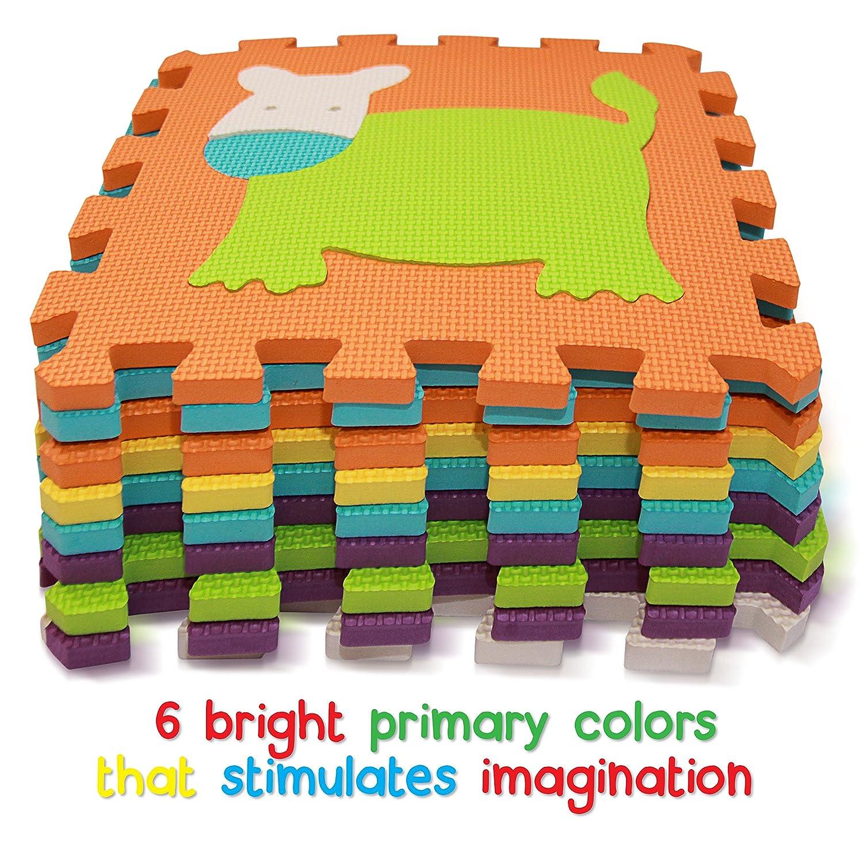 amazoncom tomi mat puzzle play mat – interlocking puzzle pieces  - amazoncom tomi mat puzzle play mat – interlocking puzzle pieces promotevisual sensory development – soft baby floor mat –  tiles with vibrantanimal